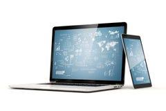 3d laptop i pastylka Zdjęcie Stock