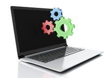 3d laptop i przekładnie Na białym tle royalty ilustracja
