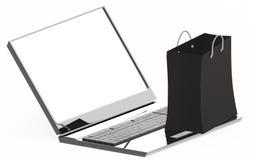 3d laptop i torba na zakupy nad nim - biel kopii przestrzeń jest nad laptopu ekranem ilustracji