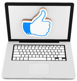 3d laptop with like sign Royalty Free Stock Image