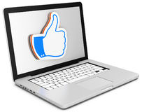 3d laptop with like sign Royalty Free Stock Photos