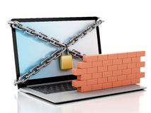 3d Laptop with lock and brick wall. Firewall concept. 3d renderer image. Laptop with lock, chain and brick wall. Firewall concept.  white background Stock Photos