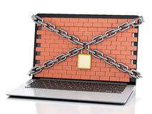 3d Laptop with lock and brick wall. Firewall concept. 3d renderer image. Laptop with lock, chain and brick wall. Firewall concept.  white background Stock Images