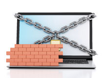 3d Laptop with lock and brick wall. Firewall concept. 3d renderer image. Laptop with lock, chain and brick wall. Firewall concept.  white background Stock Photography