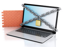 3d Laptop with lock and brick wall. Firewall concept. 3d renderer image. Laptop with lock, chain and brick wall. Firewall concept.  white background Royalty Free Stock Photos