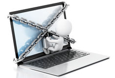 3d Laptop with lock and chain. Data security concept. Royalty Free Stock Image