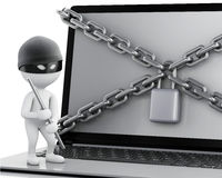3d Laptop with lock and chain. Data security concept. Stock Image