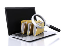3d laptop, magnifying glass and computer files Stock Photo