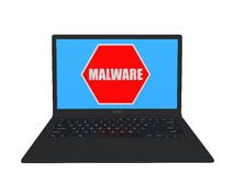 3d laptop with malware sign Royalty Free Stock Image