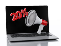 3d Laptop and Megaphone. Discount concept. Stock Photo