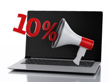 3d Laptop and Megaphone. Discount concept. Royalty Free Stock Photo