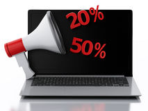 3d Laptop and Megaphone. Discount concept. Stock Photography