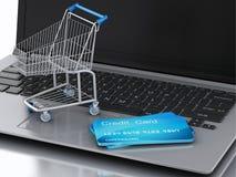 3d Laptop met Boodschappenwagentje en creditcard Stock Illustratie