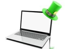 3d Laptop met het lege scherm met St Patrick ` s hoed Royalty-vrije Illustratie