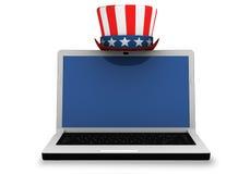 3d: Laptop met Patriottische Hoed Stock Foto
