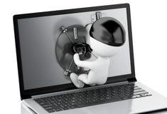 3d Laptop met Veilige Deur Het concept van de Veiligheid van gegevens stock illustratie