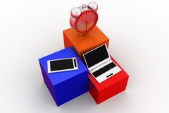 3d Laptop Mobile Clock Royalty Free Stock Image