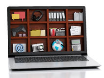 3d laptop and multimedia. Royalty Free Stock Photo