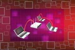 3d laptop networking with laptop illustration Stock Image