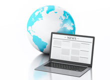 3d Laptop with news and earth globe. Media concept. 3d image. Earth globe and Modern laptop with news. Internet, Media concept on white background Stock Image