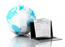 3d Laptop with news and earth globe. Media concept. 3d image. Earth globe and Modern laptop with news. Internet, Media concept on white background Royalty Free Stock Image