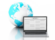 3d Laptop with news and earth globe. Media concept. 3d image. Earth globe and Modern laptop with news. Internet, Media concept on white background Stock Photo