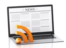 3d Laptop with news. Media concept. 3d image. Modern laptop with news. Internet, Media concept on white background Stock Photos