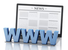 3d Laptop with news. Media concept Stock Photography