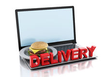 3d laptop. Online and Internet food delivery concept. Royalty Free Stock Image