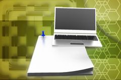 3d laptop with papers illustration Stock Image