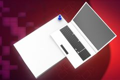 3d laptop with papers illustration Royalty Free Stock Image