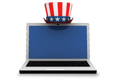3d: Laptop with Patriotic Hat Stock Photo