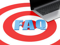 3d Laptop pc and FAQ on target. Royalty Free Stock Photos