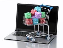 3d Laptop PC met Apps-pictogrammen in boodschappenwagentje Royalty-vrije Stock Fotografie