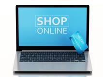 3d Laptop PC met creditcard Online aankoop Royalty-vrije Stock Foto's
