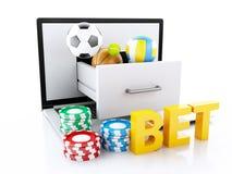 3d laptop PC met sportballen en spaanders Royalty-vrije Stock Foto's