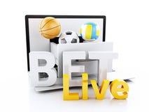 3d laptop PC met sportballen Het wedden concept Stock Foto's
