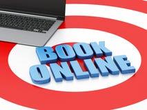3d Laptop pc. Online booking concept. 3d renderer illustration. Online booking concept. Laptop pc on target Stock Photos