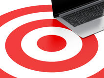 3d Laptop pc on target. Strategic business concept Royalty Free Stock Photos