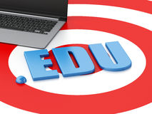 3d Laptop pc and word EDU on target. 3d renderer image. Domain concept. Laptop pc and word EDU on target Stock Photos