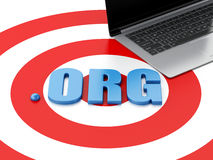3d Laptop pc and word ORG on target Royalty Free Stock Images