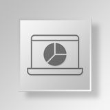3D Laptop Pie Chart icon Business Concept. 3D Symbol Gray Square Laptop Pie Chart icon Business Concept Royalty Free Stock Photography