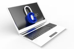 3d laptop with at the rate lock illustration Stock Image