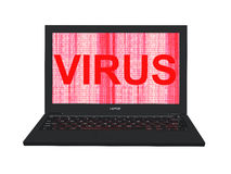3d laptop with red binary code screen and word `Virus`. 3d render of laptop with red binary code screen and word `Virus Royalty Free Stock Photography