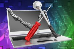3d laptop repair illustration Stock Photos