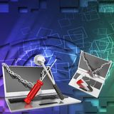 3d laptop repair illustration Royalty Free Stock Photos