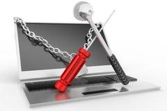 3d laptop repair illustration Stock Photo