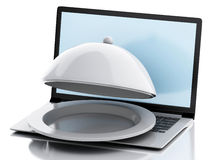 3d laptop with Restaurant cloche. Online food delivery concept. Stock Photography