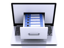 3d Laptop with ring binders. Data storage. Stock Images