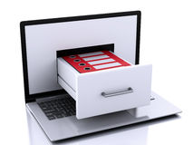 3d Laptop with ring binders. Data storage. Stock Photos